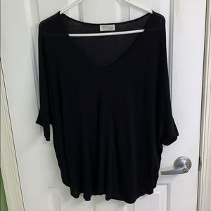 Black short sleeve v-neck style top size medium